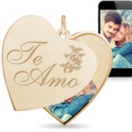 """Te Amo"" (I Love You in Spanish) Heart Swivel Photo Pendant"