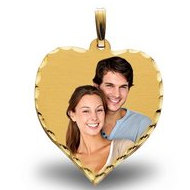 Large Heart w/ diamond cut edge Photo Pendant Picture Charm