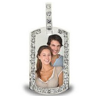 Sterling Silver Photo Dog Tag W  CZ Border