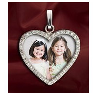 New! Diamond Heart Photo Pendant Picture Charm