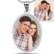 Oval with Thin Border Photo Pendant Picture Charm