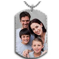 Solid Sterling Silver Small Photo Engraved Dog Tag Photo Pendant
