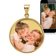 Petite Round W  Plain Bezel Photo Pendant