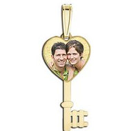 Heart Key  Photo Pendant Picture Charm