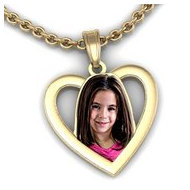 Heart with Outline Cut out Photo Pendant Picture Charm