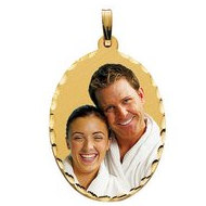 Large Oval Pendant with Diamond Cut Edge Photo Pendant Picture Charm