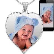Small Heart Pendant with Diamond Cut Edge Photo Pendant Picture Charm