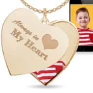 """""""Always In My Heart"""" Heart Swivel Photo Pendant"""
