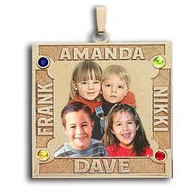 Square Photo Pendant w/ 4 Names Etched