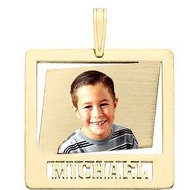 Square w  Name Cut Photo Pendant Picture Charm
