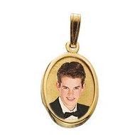 Petite Oval with Bezel Frame Photo Pendant Picture Charm