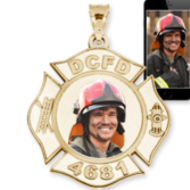 Personalized Firefighter Photo Necklace