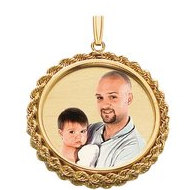 Small Round w  Rope Frame Picture Pendant
