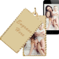 Yellow Gold Rectangle Swivel Photo Pendant Picture Charms