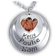 Hand Stamped Photo Pendant W/ Three Names