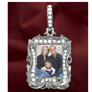 New! 14K White Gold Diamond Rectangle Photo Pendant Picture Charm