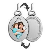 Sterling Silver Open Face Oval Photo Pendant w/ Engravable Back