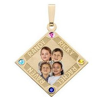 Diamond Shaped Pendant w/ 4 Names and 4 Birthstones