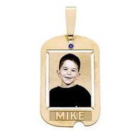 Dog Tag w  1 Name etched and Birthstone