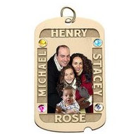 Dog Tag w  4 Names Etched and 4 Birthstones