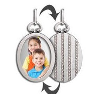 Sterling Silver Open Face Oval Photo Pendant W/ Striped Back