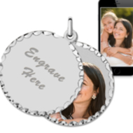 White Gold Round Swivel Photo Pendant