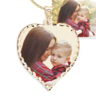 Small Heart Pendant with Diamond Cut Edge Photo Pendant Picture Charm