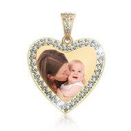 Diamond Photo Engraved Heart Pendant