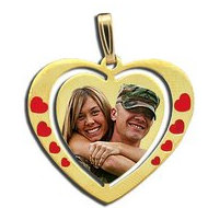 Exclusive Heart Red Enameled Photo Pendant