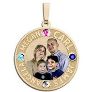 Round Pendant w  Four Names Etched with Four Birthstones