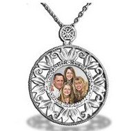Sterling Silver Diamond Photo Pendant