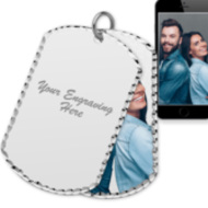 Sterling Silver Dog Tag Swivel Photo Pendant \