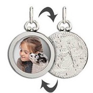 Sterling Silver Open Face Photo Pendant w  Grooved Back