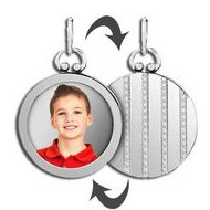 Sterling Silver Open Face Photo Pendant w  Striped Back