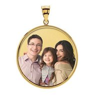 Large Round w  bezel frame and protective crystal Picture Pendant