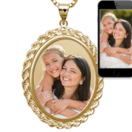 Oval with Rope Frame Photo Pendant Picture Charm