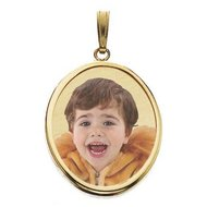Small Oval w/Bezel Frame Photo Pendant Picture Charm