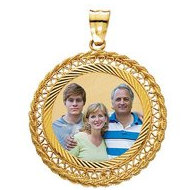 14k Yellow Gold Filegre Round Photo Pendant