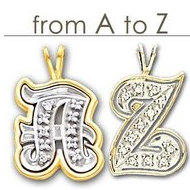 Diamond Outlined Initial in 14K Two Tone Gold