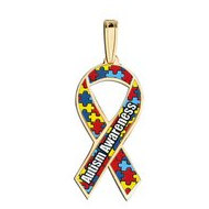 Autism Awareness Ribbon Puzzle Color Charm
