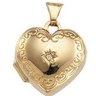14K Yellow Gold Heart Shaped Locket W/Diamond