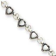 Sterling Silver 9  White Cats Eye Heart Anklet
