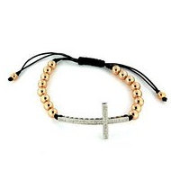 Adjustable Sterling Silver   Diamond Beaded Cross Bracelet   Anklet