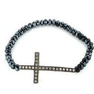 Stretchable Beaded Sterling Silver Cross Bracelet
