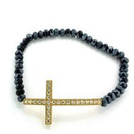 Stretchable Beaded Gold Over Silver Cross Bracelet