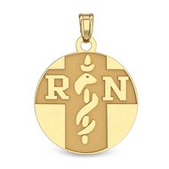14K Yellow Gold RN Medical ID Charm or Pendant W/ Enamel