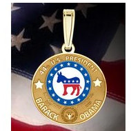 Barack Obama Inauguration Dem  Medal   w  Raised Letters  EXCLUSIVE