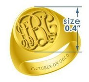 Round Women s Embossed Monogram Ring
