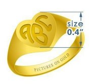 Heart Women s Traditional Monogram Ring