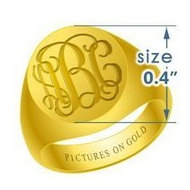 Boy s Round Traditional Monogram Ring